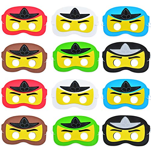 Kreatwow 12 Pack Ninja Maske, Cartoon Dress Up Augenmaske für Geburtstagsfeier, Party Favors