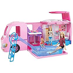 Transform the colourful barbie dream camper into a campsite play set with the push of a button - the top pops up ​The open side becomes a pool with a water slide and stairs that fold out to really make a splash ​Use the interior to eat or sleep - pul...