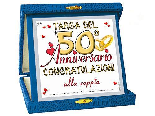 Dor TARGHETTA 50 Anni di Matrimonio Gadget Nozze d'oro - Targa del Cinquantesimo Anniversario di...