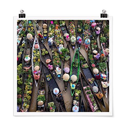 Bilderwelten Poster Déco Imprimé Floating Market Carré Fini satiné Autocollant 50 x 50cm