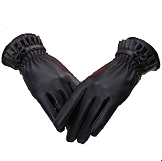 Ladies Leather Gloves Touch Screen Mittens Womens Soft Warm Velvety Lining Winter Gloves with One Bow Decoration (Black)