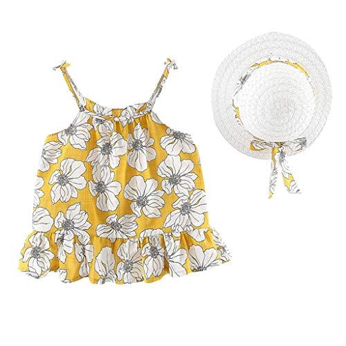 Bekleidung 2 Stück Baby Kinder Mädchen Floral Geraffte Bogen Wassermelone Prinzessin Kleid Kleidung Baby Mädchen Tüllrock+Sonnenhut Heligen