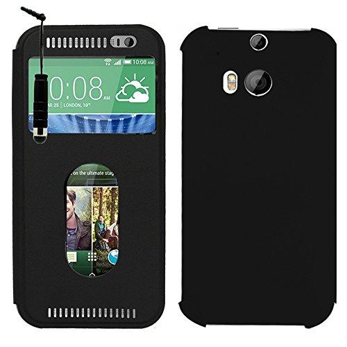 HTC One (M8)/ HTC Butterfly 2 Étui HCN PHONE® Housse Coque flip cover View case pour HTC One (M8)/ HTC Butterfly 2 + mini stylet - NOIR