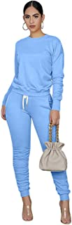 Womens 2 Pieces Outfit for Sportswear Tracksuits Long Sleeve Pullover Drawstring Sweatpants With Pocket