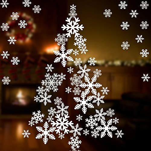 Coogam 135 PCS Christmas Decorations Snowflake Window Sticker Set of 5 Sheet DIY Window Cling - Removable Snow Decal for Mirror Glass Door Car Body Holiday Xmas