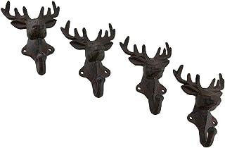 Zeckos Rustic Cast Iron Deer Head Decorative Wall Hook Set of 4