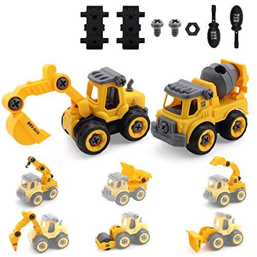 Amy & Benton ensambla y desmonta camión de Juguete para vehículos de construcción, 8 en 2 con Herramientas de Destornillador para niños y niñas de 3 4 5 6 años de Edad