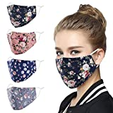 Genovega Face Mask Washable Reusable Adjustable Ear Loops, Flowers Breathable Fabric Covering Cute Fashionable Decorative Madks for Women Man Adult Gift mascarilla Facemask