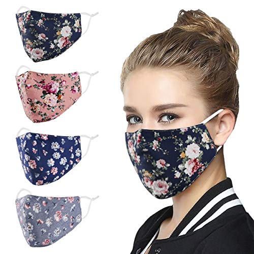 Face Mask Washable Reusable Adjustable Ear Loops Protection , Flowers Breathable Cloth Layer Covering , Cotton Fabric Cute Fashionable Decorative Designer Madks Women Adult Gift mascarilla Facemask