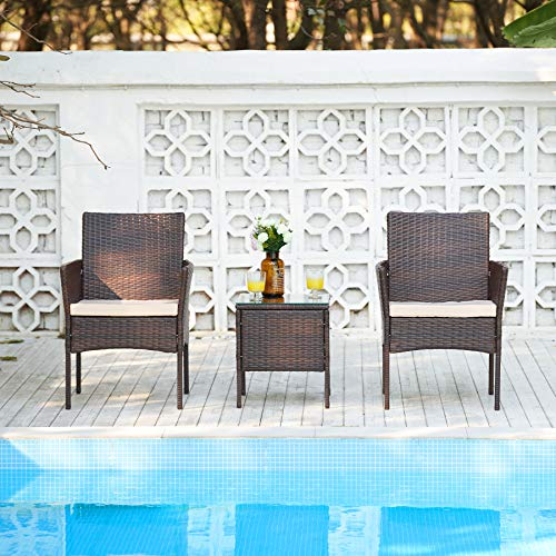 VONLUCE 3 Piece Outdoor Garden Furniture Set, PE Rattan Wicker Set with 2 Chairs and Glass Top Side Table for Garden Decor, Outdoor Furniture Set with End Table, Thick Cushions, Walnut and Beige