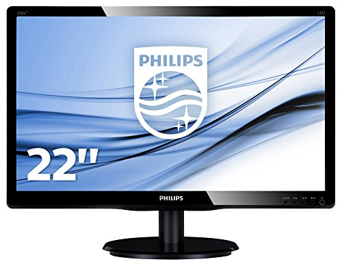 "Philips 226V4LAB Monitor 22"" LED, Full HD, 1920 x 1080, DVI, VGA, Casse Audio Integrate, 5 ms, Attacco VESA, Nero"