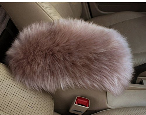 Forala Auto Center Console Pad Furry Sheepskin Wool Car Armrest Seat Box Cover Protector Universal Fit (W-Tan)
