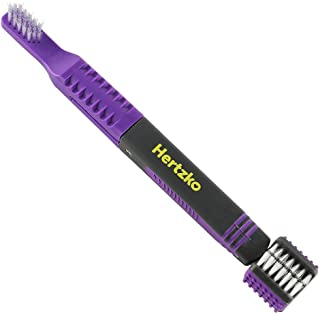 Hertzko Triple Headed Tooth Brush Multi-Head Brush Gets to All Sides of The Tooth at Once! - Removable Finger Brush Gives You Great Control - Suitable for Small and Large Dogs and Cats