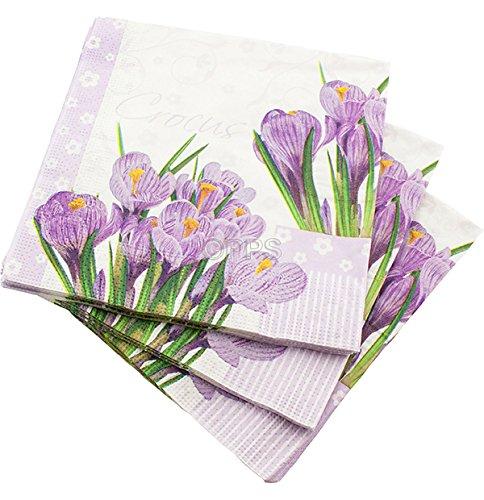 Lot de 60 serviettes de table en papier 3 plis Motif crocodile Lilas 33 cm x 33 cm