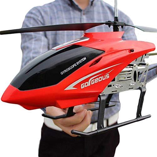 Kikioo Avión de control remoto inalámbrico extra grande de 3.5 canales, color rojo, modelo de drone duradero, helicóptero de juguete controlado por radio de 2.4GHZ para niños y adultos, juego interact