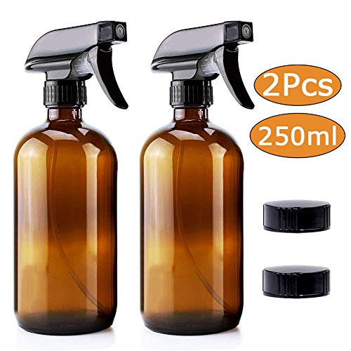 JINLE Sprühflasche, 250 ml, bernsteinfarbenes Glas, leer, nachfüllbar, feiner Zerstäuber, Nebel und Einzelmodus, ideal für ätherische Öle, Reinigung