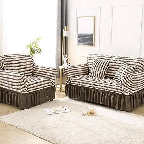 JXJ Funda Universal para sofá de fácil Ajuste, de 1 Pieza, con Tela elástica de Secado rápido, Protector de sofá Extensible y Duradero, Funda de sofá Seersucker con Falda con Volantes, marrón, c