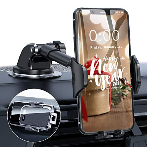 DesertWest Upgrade Universal Car Phone Mount, Cell Phone Holder for Dashboard Windshield Air Vent, Long Arm Compatible with iPhone 12 SE 11 Pro Max XR XS X Samsung Galaxy Note 20 S20 S10 S9