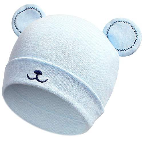 heekpek Baby Kinder Winter Warm Gestrickter Mütze Schal Sets Kleinkind Kinder Warme Beanie Mütze Weiche Baumwollkaps Schals Hüte für Baby Mädchen Jungen Säuglings Kinder 0-6 Monate (Blau)
