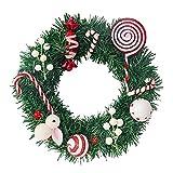 Grande Corona di Natale for Porta d'ingresso - Arredamento della Porta Ghirlande Natalizie, ghirlande Swags con Caramelle di Coniglio Bianco, 50 cm Peng