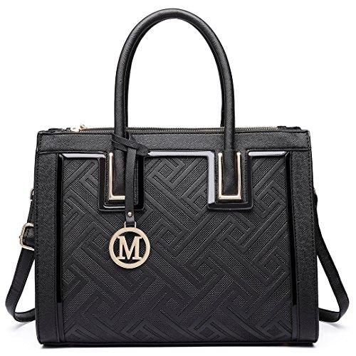 Miss Lulu Henkeltasche Schultertasche Handtasche Elegant Aktentasche Arbeit Shopping Urlaub, Lt6622 Bk