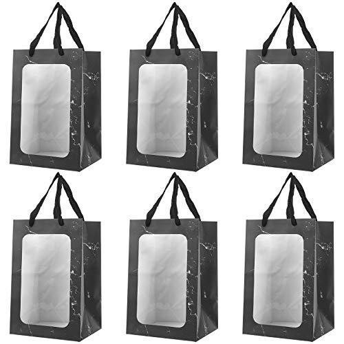 6Pcs tragbare Blumenstrauß Packtaschen Marmor Textur Fenster Geschenk Handtaschen