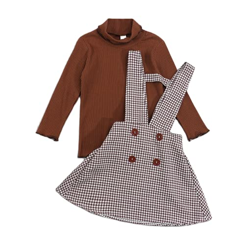 Kids Toddler Baby Girl Fall Winter Outfits Long Sleeve Sweater Knitted Sweatshirt Suspender Skirt 2Pcs Clothes Set (Brown, 5-6 Years)