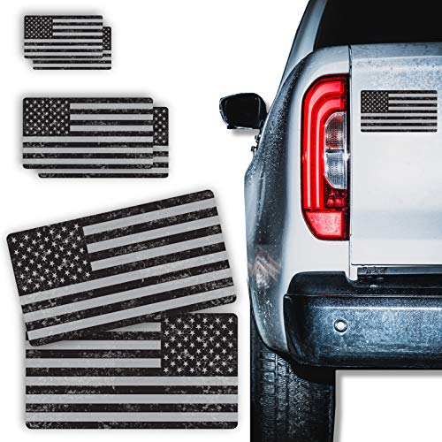 6 Piece Multi-Size Subdued American Flag Sticker Set Tactical Military Decal for Cars Trucks Motorcycle Tactical Gear Hard Hats Distressed Tattered Forward and Reverse Facing, Made in USA (Black/Gray)