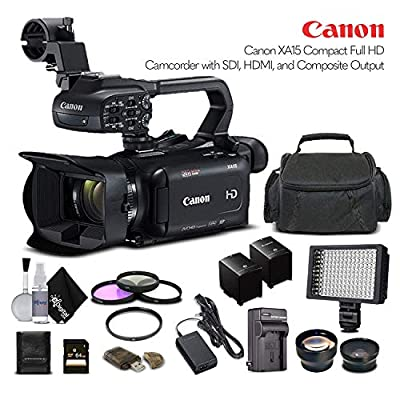 Canon XA15 Compact Full HD Camcorder 2217C002 with 64GB Memory Card, Extra Battery and Charger, UV Filter, LED Light, Case, Telephoto Lens, Wide Angle Lens, and More - Advanced Bundle by Canon