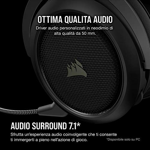 Corsair HS70 Pro, Cuffie Gaming, Carbonio