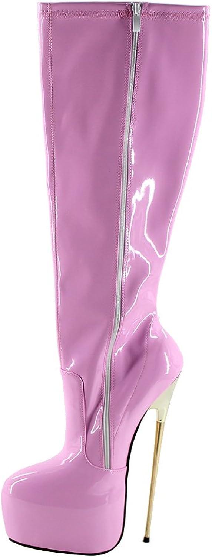 Wonderheel 8.6  Thin Metal Heel Pink Patent Platform Knee high Boots Women Sexy shoes
