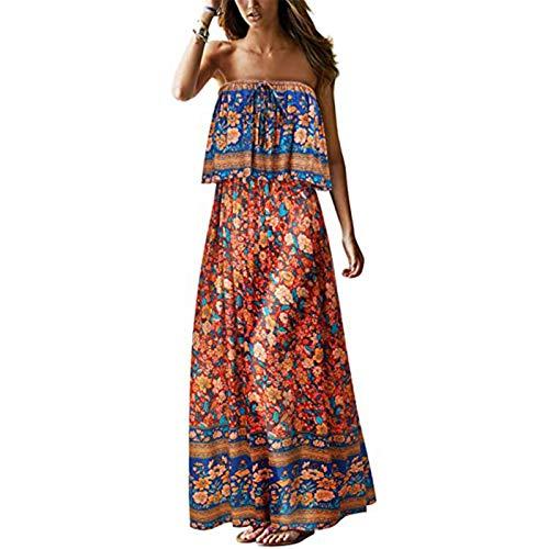 FOTBIMK Vestido largo sin tirantes de verano para mujer de playa, bohemio, estampado floral