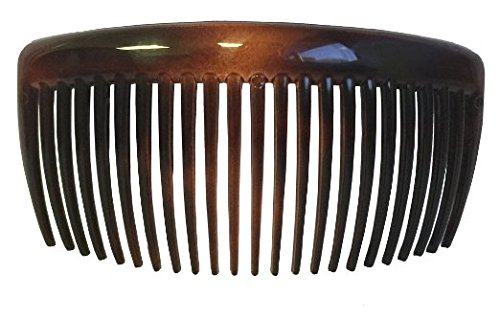 Parcelona French Large 2 Pieces Glossy Celluloid Shell Good Grip Updo 23 Teeth Hair Side Combs - 4.5 Inches