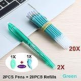 MALATA Bolígrafo de gelOficina Magic Pluma borrable Recarga 0.5mm Varilla Bolígrafos de gel mágico Mezcla de tinta para papelería de oficina escolar Bolígrafo de regalo, 22PCS Conjunto verde