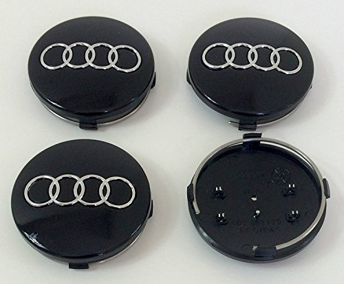 Set von 4 Alufelgen Mittelnabenkappen Abdeckungen Abzeichen 60 mm 4B0 601 170 Schwarz Für Audi A3 A4 A5 A6 A7 A8 S4 S5 S6 S8 S4 RS4 Q3 Q5 Q7 TT S Line Quattro A4L A6L 4B0601170 und andere Modelle