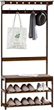 UNHO Coat Stand with Shoe Rack, Bamboo Coat Rack Stand and 3 Tier Shoe Stand Hall Trees with Bench and Coat Racks Freestan...