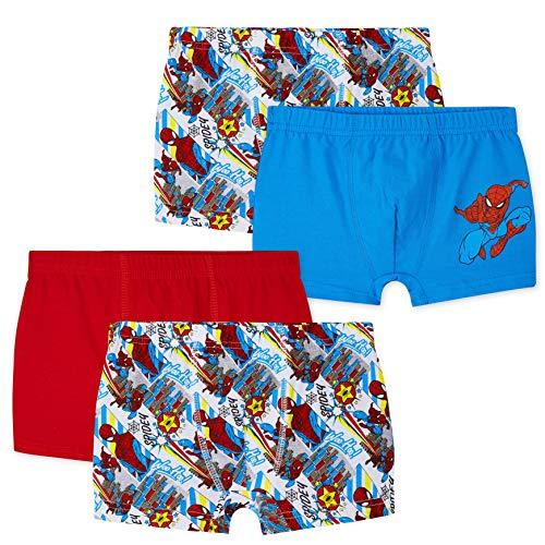 Marvel Spiderman Unterhosen Jungen, 4Pack Boxershorts Jungen, 100% Baumwolle Kinder Unterwäsche, Geschenke für Jungen und Jugendlichen (Mehrfarbig, 5-6 Jahre)