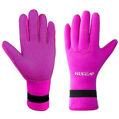 DiNeop Neoprene Gloves Diving Scuba Gloves 3MM for Women Men Kids, Kayaking Wetsuit Gloves Thermal Anti-Slip for Paddling Snorkeling Swimming Sailing Surfing Canoeing Spearfishing (Rose Red, S)