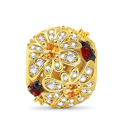 GNOCE Daisy Hollow Charm Bead Sterling Silver 18k Gold Plated with Stones Flower with Ladybug Charm Fit Bracelet/Necklace For Women Girls Wife Daughter