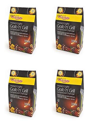 4 X Bar-Be-rapide Eclat Grab & Grill de sac de charbon de bois Lumpwood 500g Parfait pour pique-nique, barbecues bouilloire barbecues, Foyers et bien plus encore! Il suffit de lumière, et faire cuire!