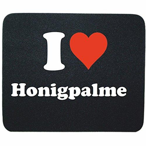 Gaming Mauspad 'I Love Honigpalme' in Schwarz, eine tolle Geschenkidee die von Herzen kommt| Rutschfestes Mousepad | Geschenktipp: Weihnachten Jahrestag Geburtstag Lieblingsmensch