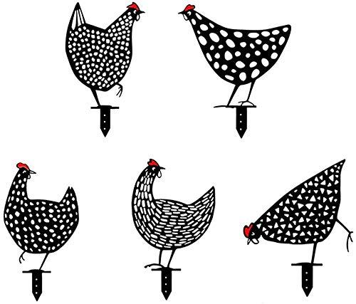 5 Pcs Chicken Yard Art Garden Metal Statue Decor, Lifelike Hen Decoration Ornament Hollow Out Animal Shape Decor, Garden Lawn Floor Decoration Ornament Hollow Out Animal Shape Decor