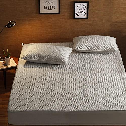 CYYyang Protector de colchón de bambú Funda de colchón y Ajustable Una Sola Pieza de sábana gruesa-25_90 * 190cm