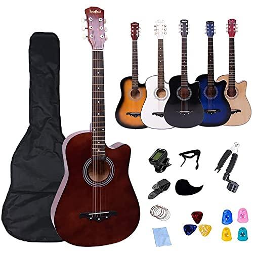 【初心者セット】アコースティックギター 初心者向けの完全なアクセサリー 38インチ Rosefinch アコギ フォークギター 初級 入門 練習 学生 子供 大人用 木製 ギター 完全に揃ってるセット 電子チューナー・ソフトケース・ピック・簡易学習マニュアル(日本語)【検品後発送で安心】