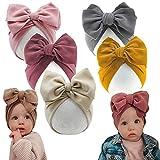 HUIXIANG Newborn Baby Headwrap Hat Infant Toddler Cotton Soft Cute Nursery Beanie Headbands Top Bowknot Cap for Boy Girl
