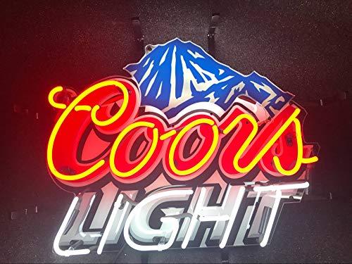 "Desung 19""x15"" Coors Light Mountain Neon Sign Light HD Vivid Printing Technology Man Cave Beer Bar Pub Handmade Real Glass Tube Lamp NT02"