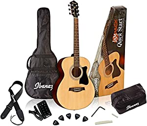 Ibanez 6 String Acoustic Guitar Pack, Right, Natural (IJVC50)
