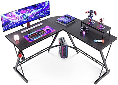 L Shaped Desk Gaming Desk Computer Desk with Round Corner, Monitor Stand for Home Office