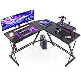 L Shaped Gaming Desk, Home Office Desk with Round Corner Computer Desk with Large Monitor Stand Desk Workstation