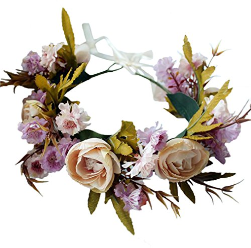 Floral Wreath Headband Rose Flower Crown Hair Wreath Hair Garland Flower Halo Floral Headpiece Boho with Ribbon Wedding Party Festival Beige by Brikuinr